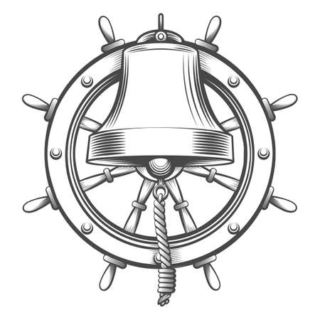 Nautical Emblem With Ship Bell and Steering wheel in engraving style. Vector illustration.
