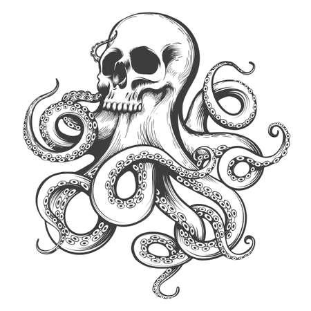 Cranio umano con tentacoli di polpo. Tatuaggio in stile incisione. Illustrazione vettoriale.