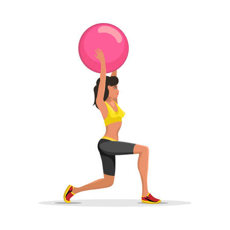 Fitness Woman Exercising With Ball. Fitness yoga ball emblem isolated on white. Vector illustration.