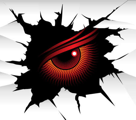 Demonic red eye looks at you from a wall hole. Vector illustration. Ilustración de vector