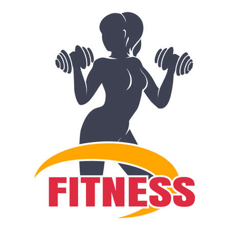 Fitness Club Emblem Template. Athletic Woman Holding dumbbell Silhouette. Vector illustration