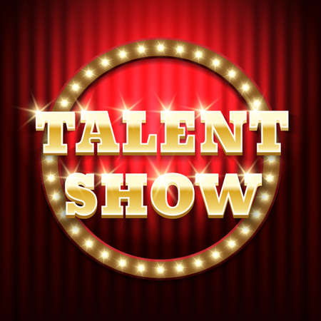 Talent show banner, poster, gold inscription on red curtain. Advertising or invitation, event. Vector illustration 일러스트