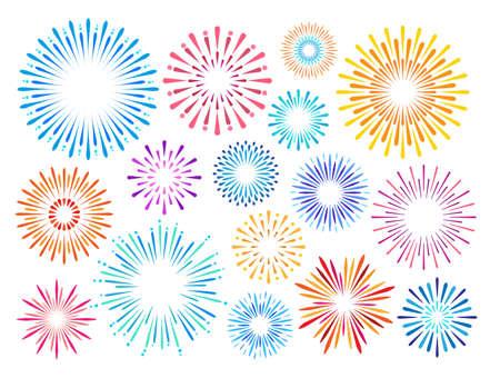 Set of colorful festive fireworks on a white background. Vector illustration