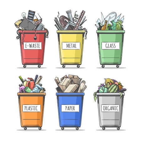 Set of colorful doodle waste separation containers. Collection of hand drawn garbage Trash Can isolated on white background. Vector illustration. Illustration