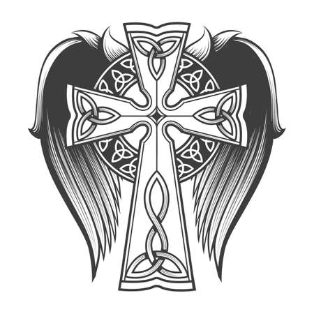 Cross in celtic style with big wings tattoo in engraving style. Vector illustration.