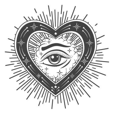 Le tatouage de l'œil de la Providence. Symbole maçonnique. Tous les yeux voyant à l'intérieur de la forme du coeur. Symbole de la géométrie sacrée, religion, spiritualité, occultisme. Illustration vectorielle Vecteurs