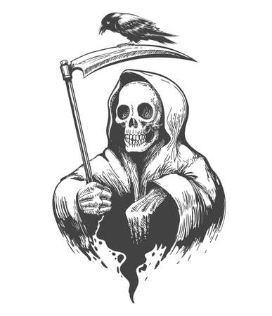 Death Skull in a Hood with Scythe and Crow tattoo. Vector illustration.