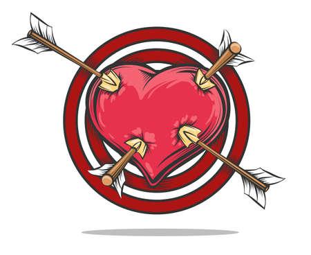 Heart placed on target pierced by four arrows. Vector illustration Vektorové ilustrace