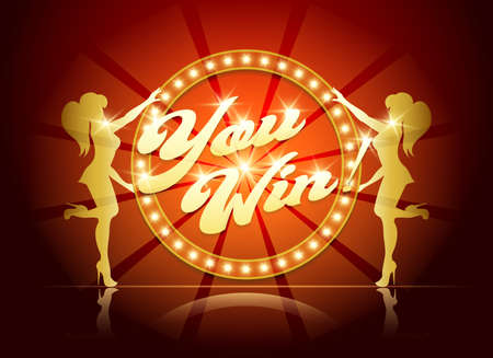 You Win Banner for Casino or Gaming industry in Retro Style. Wording You Win in circle light bulb frame and two girl silhouettes. Vector illustration.