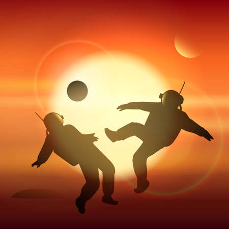 Astronauts playing soccer or football on Martian field. Conquest of Mars theme. Vector illustration.