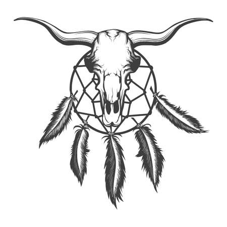 Bull skull and indian dream catcher tattoo. Native american elements Tattoo in engraving style. Vector illustration.