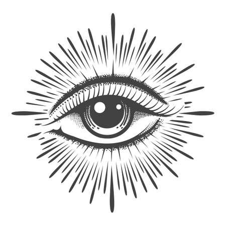All seeing eye masonic symbol tattoo. Vision of Providence emblem. Vector illustration. Ilustración de vector