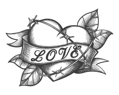 Heart in barbed wire and ribbon with hand made lettering Love tattoo. Vector illustration. Vectores