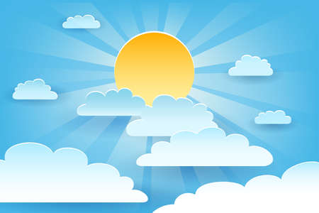 Sun with clouds on Blue sky background drawn in Paper art style. Vector illustration