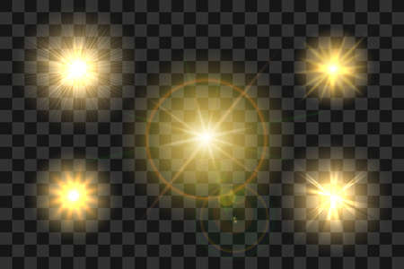 Set of Realistic Sun Burst with Glow light effect on transparent