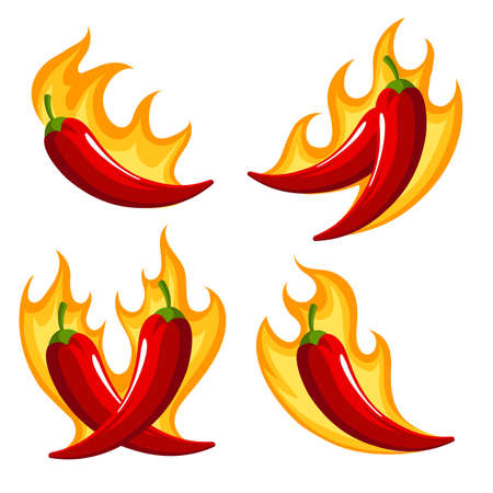 Set of Red Chili Peppers Emblems on Fire isolated on white.