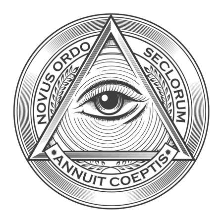 All seeing eye pyramid symbol in the engraving tattoo style. Freemason and spiritual  illuminati and religion  triangle magic. Vector illustration