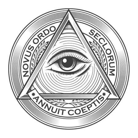 All seeing eye pyramid symbol in the engraving tattoo style. Freemason and spiritual  illuminati and religion  triangle magic. Vector illustration