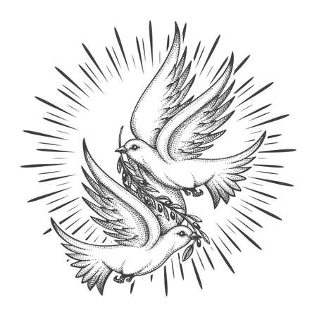 Two Doves flying with a twig. Dove Of Peace Concept Tattoo. Vector illustration. Ilustrace