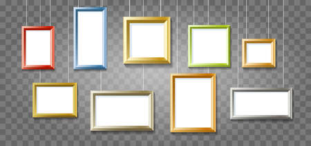 Group of Colorful Picture or Photo Frames on Transparent Background.  Vector illustration. Illustration