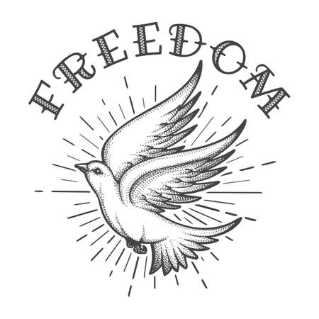 Flying Dove in the Sky with handmade Lettering Freedom Tattoo. Vector Illustration.