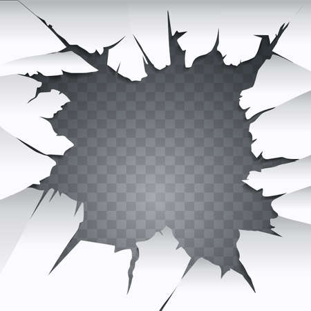 Cracked hole with space for text. Vector illustration.