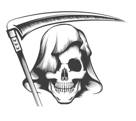 Grim Reaper Tattoo. Skull in Hood with Scythe. vector illustration. Illustration
