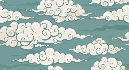 Seamless cloud pattern in Retro style. Vector illustration. 向量圖像