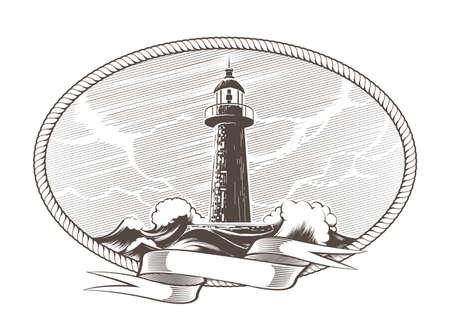 Lighthouse and Stormy Sea with blank ribbon in a circle of rope vintage engraving Emblem. Vector Illustration 일러스트
