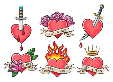 Traditional Heart tattoo set with love theme inscriptions. Oldschool heart tattoos with daggers, roses, ribbons and fire, crown and drops of blood. Vector illustration.