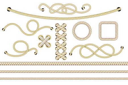 Set of nautical ropes. Twisted and crossed ropes isolated on white. Vector illustration. Vektorgrafik