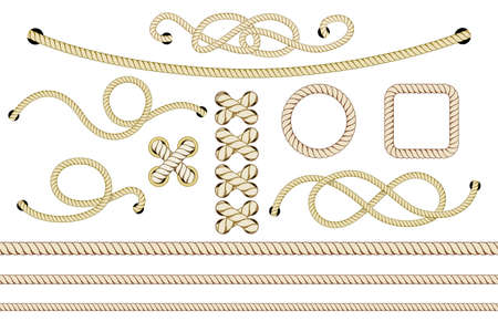 Set of nautical ropes. Twisted and crossed ropes isolated on white. Vector illustration. Ilustração Vetorial