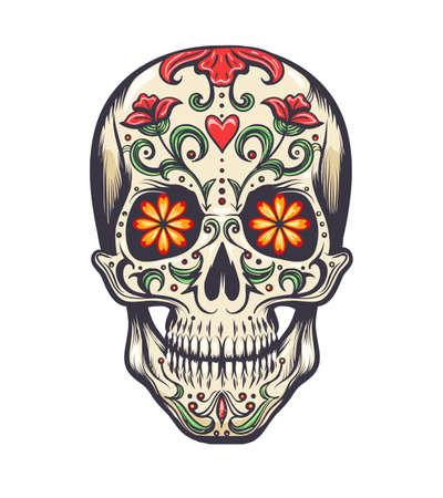 Sugar Skull decorated to Day of the Dead (Dia de los Muertos) sugar skull, or calavera. Vector illustration