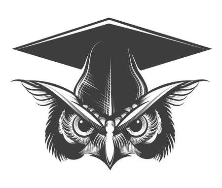 Owl in Bachelor Hat Tattoo drawn in engraving style. vector illustration. Illusztráció