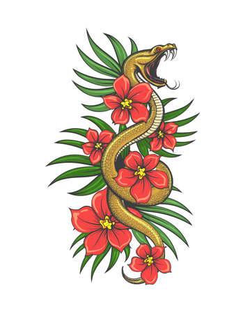 Crawling Snake with flowers and grass Leaves. Hand drawn illustration in tattoo Style. Vector illustration.