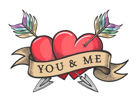 Two red heart pierced by two arrows crosswise and ribbon with Lettering You and Me. Vector illustration