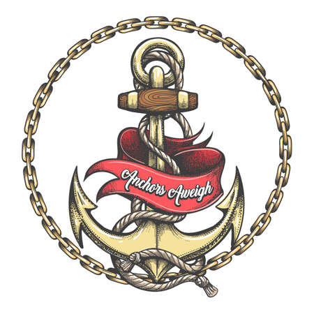 Ship Anchor in ropes chain circle Ribbon with Lettering Anchors Aweigh tattoo in Old school style. Vector illustration.