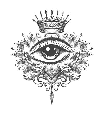Mystical Tattoo of All Seeing Eye with Crown drawn in Engraving Style. Vector illustration. Vettoriali