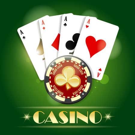 Golden chip with ace card casino emblem concept. Poker club emblem on green background. Vector illustration.