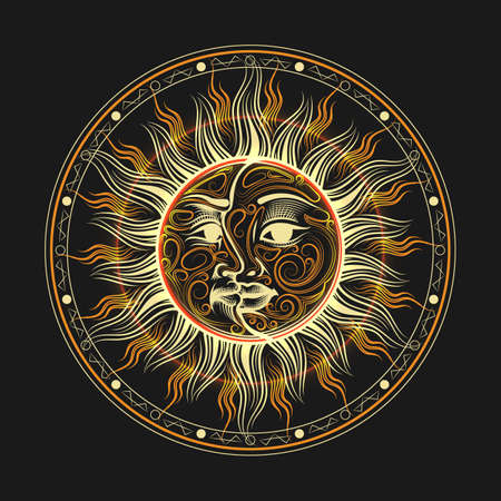 Faces of the moon and Sun United on one disc, Occult symbol. Vector illustration.