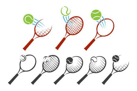 Tennis racket and balls  set isolated on white background. Vector Illustration. Ilustracja