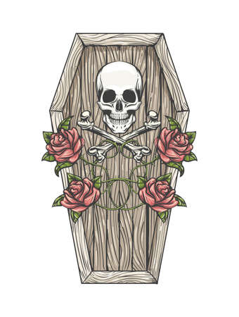 Skull with Bones and Roses on the Coffin Lid Colorful Tattoo isolated on white. Vector illustartion. Ilustracja