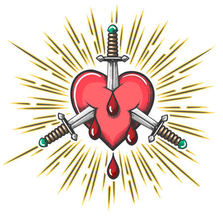 Heart pierced by three daggers with drop of blood Tattoo. Vector illustration.