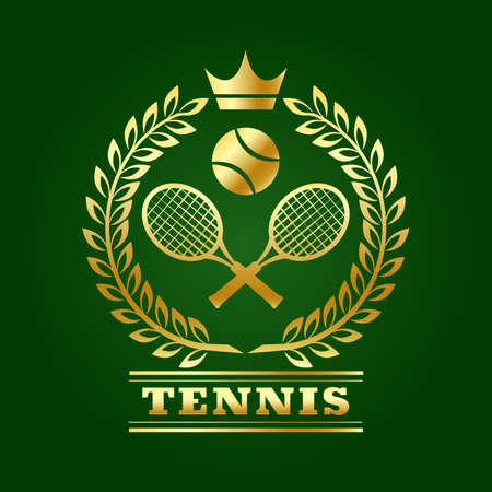 Tennis design template with Laurel Rackets and Ball isolated on green. Vector illustration. Ilustracja