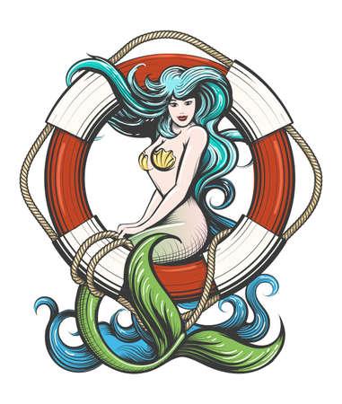 Mermaid sitting on lifebuoy colorful tattoo isolated on white. Vector illustration.