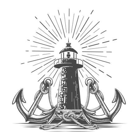 Hand Drawn Vintage Lighthouse graphics in engraving style. Lighthouse two anchors and rope knot. Vector illustration. Ilustracja