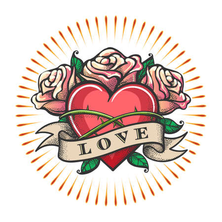 Heart and Rose Flowers with ribbon. Love Theme Tattoo isolated on white. Vector illustration.