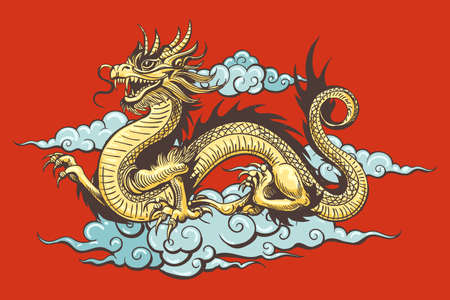 Traditional Golden Chinese Dragon in the Sky on red background. Vector illustration.