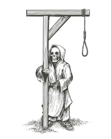 Skeleton in a hood Standing Close to the Gallows drawn in sketch style. Vector illustration. Ilustracja