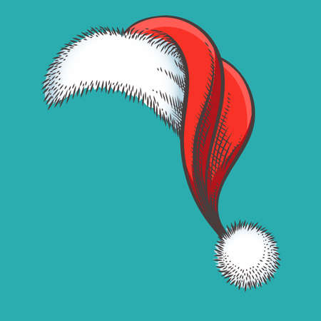 Colorful Sketch of Red Santa Claus Hat. Vector Illustration. Ilustracja